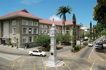 Victoria Clock Tower in Central Victoria, Mahe, Seychelles